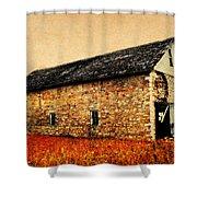 Lime Stone Barn Shower Curtain by Julie Hamilton