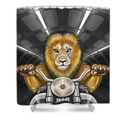 Lion On Motorcycle Shower Curtain