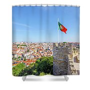 Lisbon Castle Flag Shower Curtain