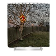 Lit Christmas Wreath Hanging In Tree Shower Curtain