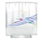 Little Blue Heron In Flight Shower Curtain