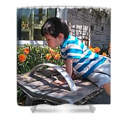 Little Boy And Flowers Shower Curtain