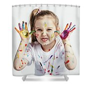 Little Girl Covered In Paint Making Funny Faces. Shower Curtain