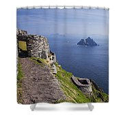 Little Skellig Island, From Skellig Michael, County Kerry Ireland Shower Curtain