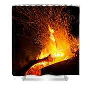 Log Campfire Burning At Night Shower Curtain