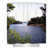 Looking Out Over The River Shower Curtain