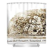 Lorelei Rock Formation, Switzerland, 1903 Shower Curtain