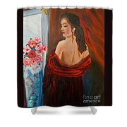 Lovely In Red Jenny Lee Discount Shower Curtain
