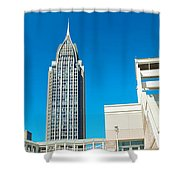 Low Angle View Of Buildings, Mobile Shower Curtain