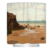 Low Tide At The Ris Beach Shower Curtain