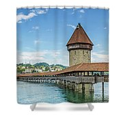 Lucerne Chapel Bridge And Water Tower - Panoramic Shower Curtain