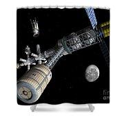 Lunar Cycler Centrifuge Shower Curtain