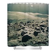 Lunar Rover At Rim Of Camelot Crater Shower Curtain