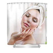 Lutrevia Cream Shower Curtain