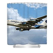 Malaysia Airlines Airbus A380 Shower Curtain