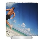 Male Beach Runner Shower Curtain by Brandon Tabiolo - Printscapes