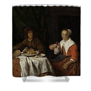 Man And Woman At A Meal Shower Curtain