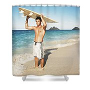 Man At The Beach With Surfboard Shower Curtain