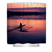 Man Rowing On Montlake Cut Shower Curtain