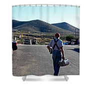 Man Walking With Newspapers Shower Curtain