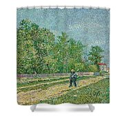 Man With Spade In A Suburb O Shower Curtain