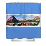 Many Glacier Hotel Panorama Shower Curtain