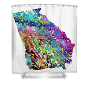 Map Of Georgia-colorful Shower Curtain
