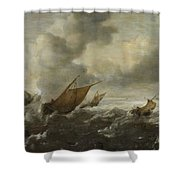Maritime Scene With Stormy Seas Shower Curtain