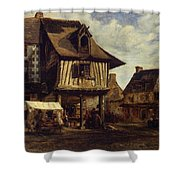 Market-place In Normandy Shower Curtain
