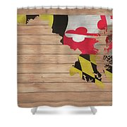 Maryland Rustic Map On Wood Shower Curtain