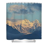 Massive Snow Caped Mountains In The Countryside Of Italy  Shower Curtain