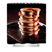 Meat Pies With Sauce And High Contrast Lighting. Shower Curtain