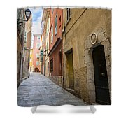 Medieval Street In Villefranche-sur-mer Shower Curtain