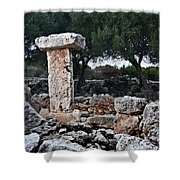 Megalithic Taula In Binisafua Menorca Bronze Age Shower Curtain