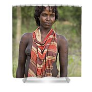 member of the Bena Tribe, Omo Valley Shower Curtain