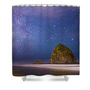 Milky Way Over Canon Beach Shower Curtain
