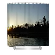 Mississippi River Sunrise Reflection Shower Curtain