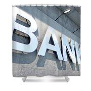 Modern Bank Building Signage Shower Curtain