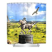 Modern Horse Statue Shower Curtain
