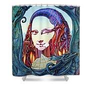 Mona Lisa. Fire Shower Curtain