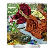 Monks Blessing Buddhist Wedding Ceremony In Cambodia Shower Curtain