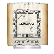 Monopoly Board Game Patent Art  1935 Shower Curtain