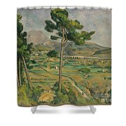 Mont Sainte-victoire And The Viaduct Of The Arc River Valley Shower Curtain