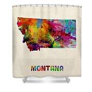 Montana Watercolor Map Shower Curtain