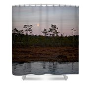 Moon Over Wetlands Shower Curtain