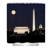 Moon Rising In Washington Dc Shower Curtain