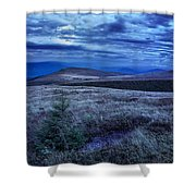 Moonlight On Stone Mountain Slope With Forest Shower Curtain