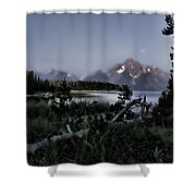 Moonset On Jackson Lake Shower Curtain