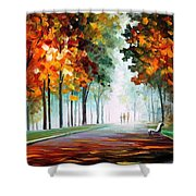 Morning Fog - Palette Knife Oil Painting On Canvas By Leonid Afremov Shower Curtain