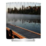 Morning Mist Over Lynx Lake In Northern Saskatchewan Shower Curtain